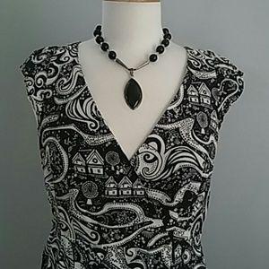 MOULINETTE SOEURS MIDNIGHT DREAM BLACK WHITE DRESS